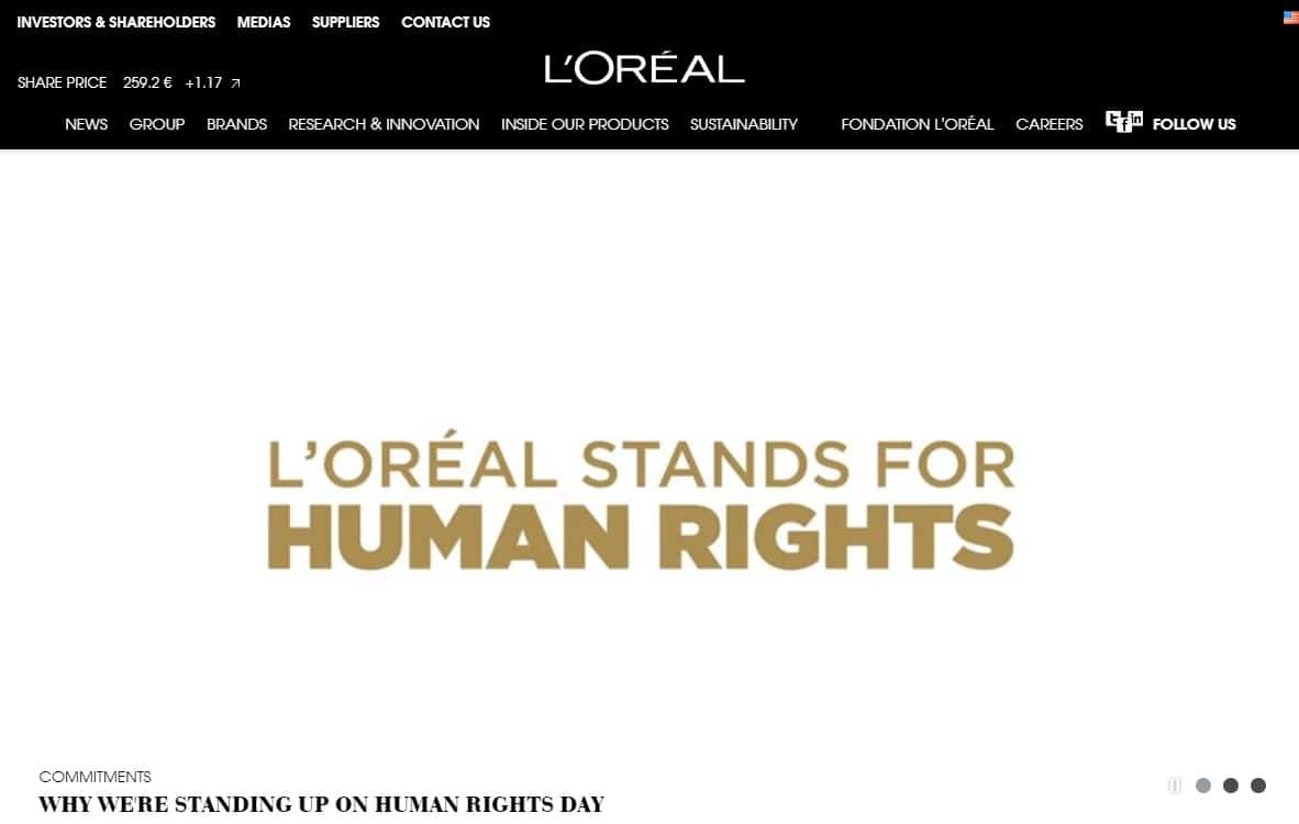 L'OREAL homepage screenshot.
