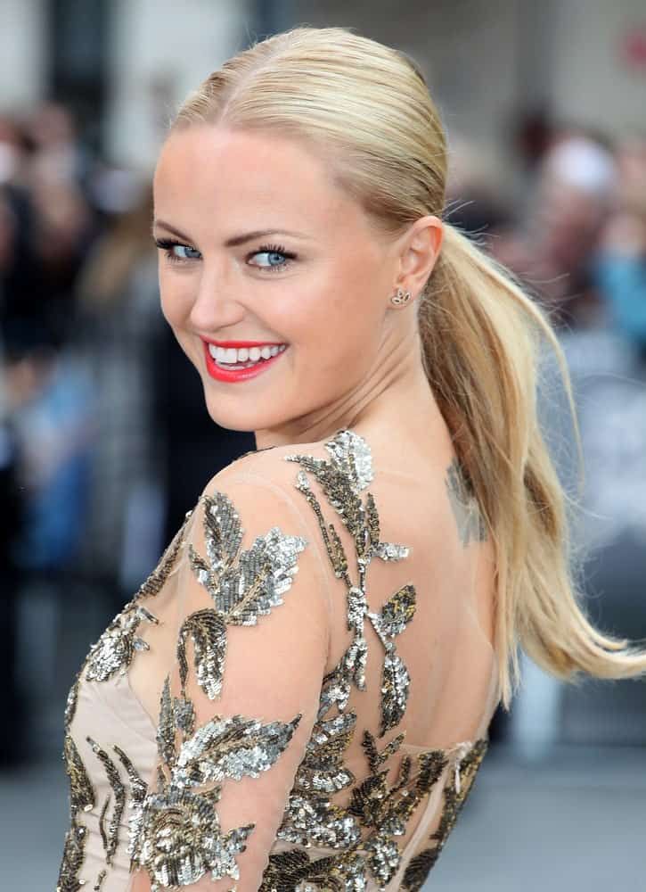 Malin Akerman was sporting a simple low ponytail with subtle brown highlights to complement her sequined dress for the Rock Of Ages Premiere, Odeon Leicester Square in London last October 6, 2012.