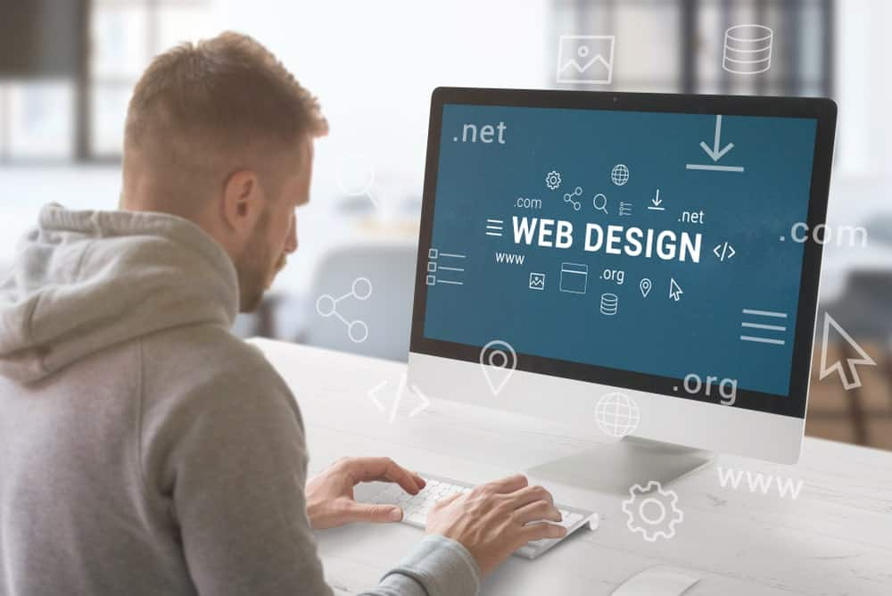 Man working on a web design.