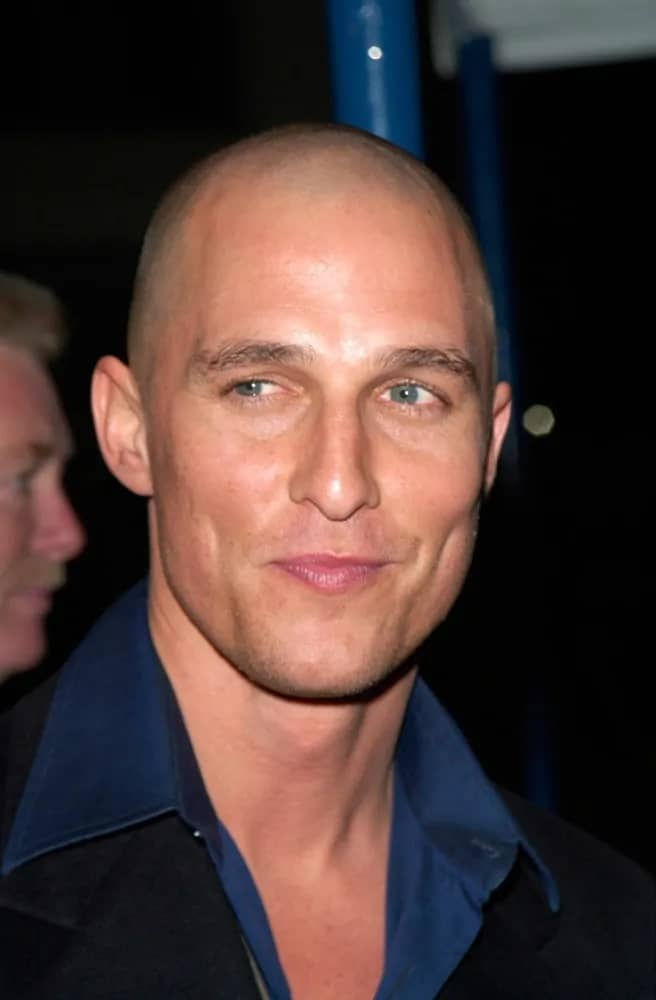 """Matthew McConaughey went for an edgy bald look at the 2000 world premiere of """"What Women Want"""" in Los Angeles."""