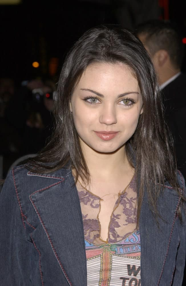 Last January 29, 2002, Actress Mila Kunis was at the Hollywood premiere of Slackers wearing a casual outfit and denim jacket with her loose straight hair and fresh face.