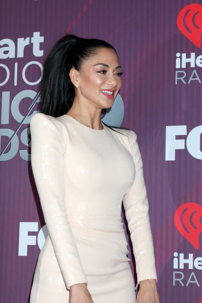 The well-known TV personality looked younger than her age in a high ponytail gathering her full and thick black hair. This was taken when she attended the iHeart Radio Music Awards – Press Room at the Microsoft Theater on March 14, 2019.