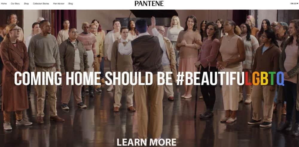 Pantene homepage screenshot.