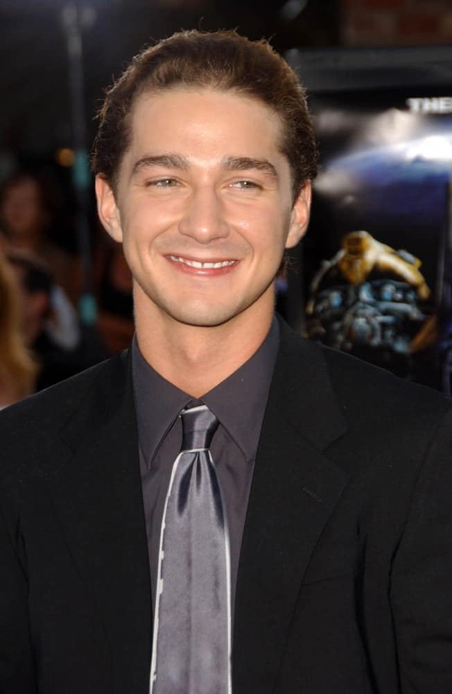 Shia LaBeouf smiles at the Los Angeles Premiere of