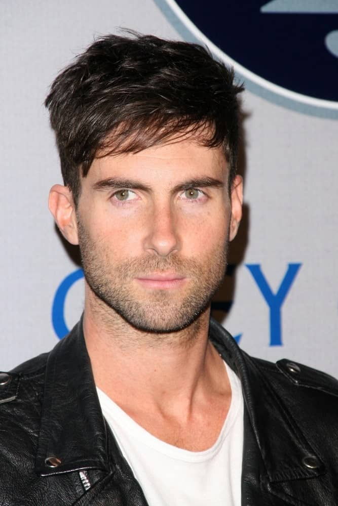 Adam Levine was stylish in his black leather jacket and side-parted undercut hairstyle at the 2008 Breeders' Cup Winners Circle Gala in Hollywood Palladium, Hollywood, CA.