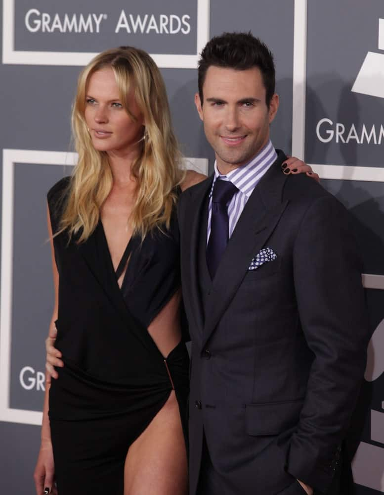 Adam Levine and Anne Vyalitsyna were at the Grammy Awards on February 12, 2012 in Los Angeles, CA. Levine wore a dapper three-piece suit with his spiked crew cut and five o'clock shadow.