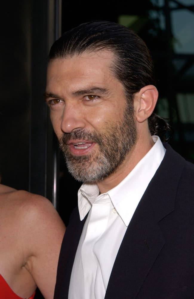 Antonio Banderas during the premiere of his movie Original Sin on July 31, 2001. He was seen sporting a man bun hairstyle.
