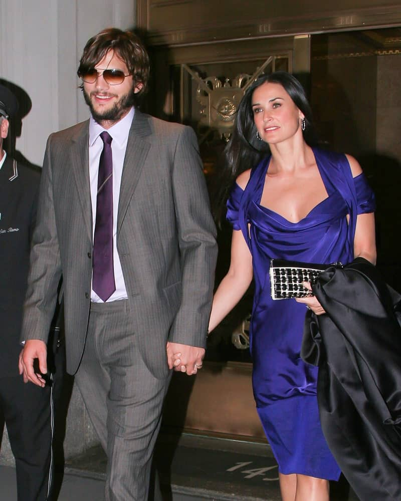 Ashton Kutcher went for a vintage look to his side-parted long hair and full beard on May 15, 2007 in New York City while walking with Demi Moore.