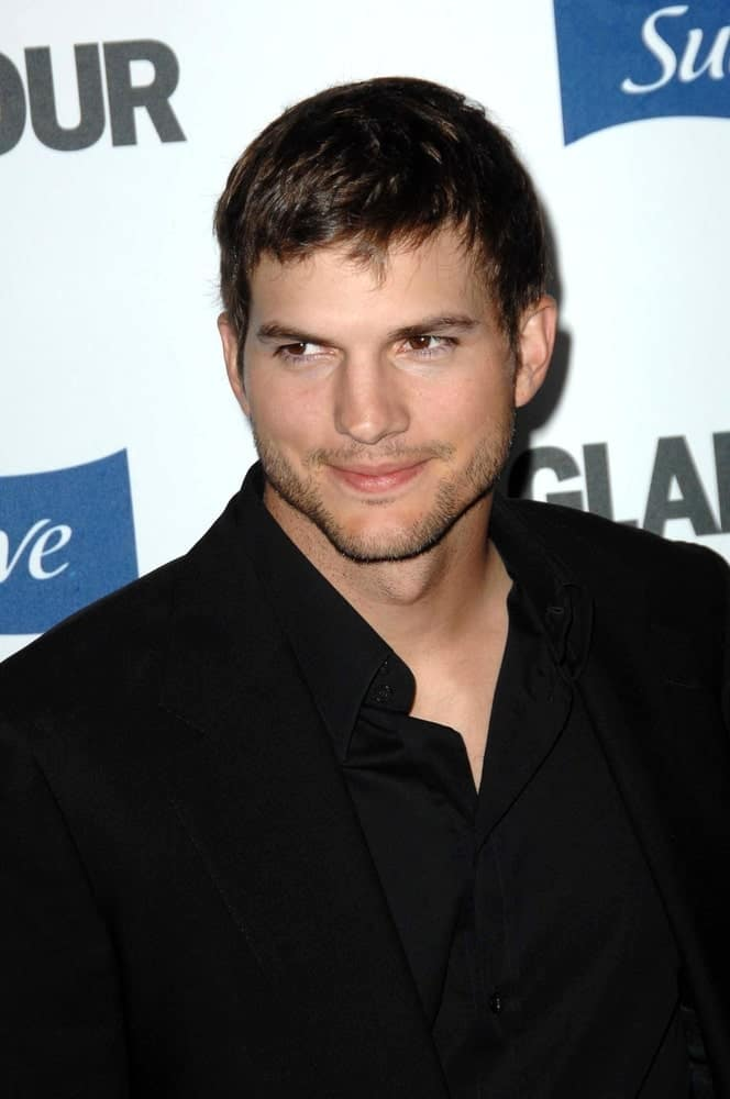 Ashton Kutcher sported a very manly Caesar hairstyle to go with his trimmed beard at the 2008 Glamour Reel Moments Gala at the Directors Guild of America in Los Angeles, CA on October 14, 2008.