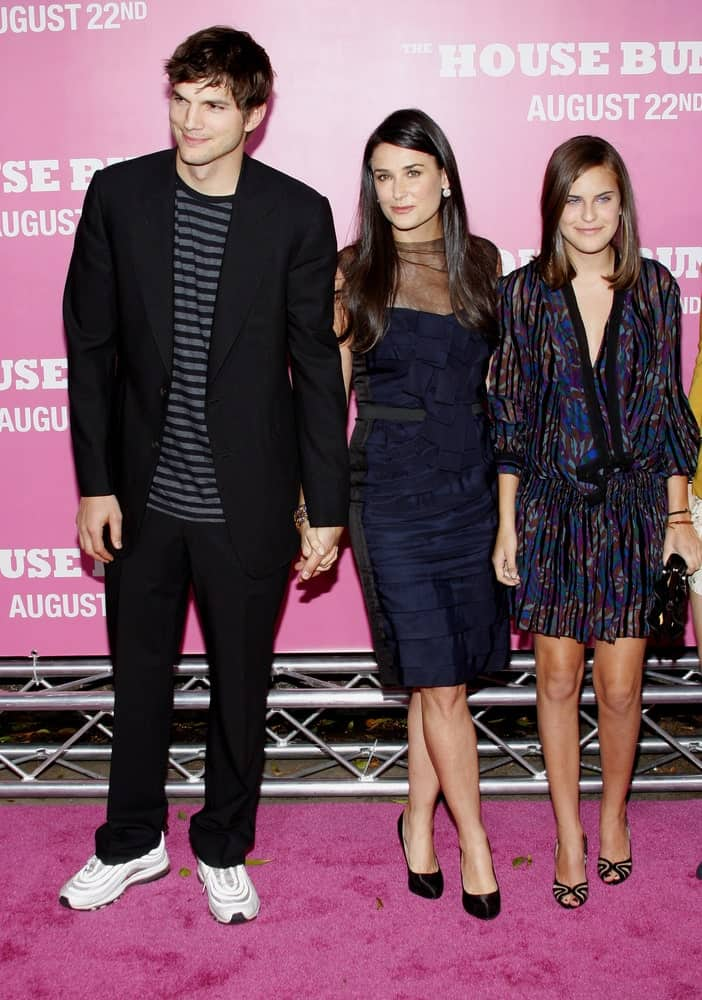 Ashton Kutcher and Demi Moore attended the Los Angeles premiere of 'House Bunny' held at the Mann Village Theatre in Westwood on August 20, 2008. Kutcher's smart casual outfit went perfectly with his side-parted tousled hair.