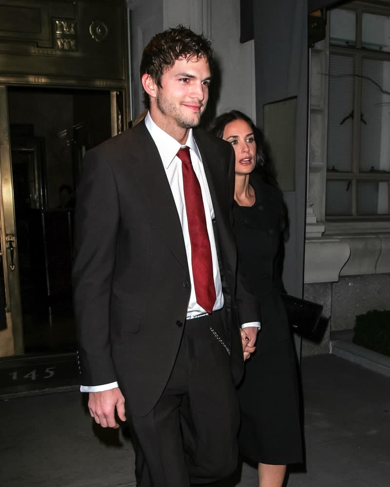 Demi Moore and Ashton Kutcher were seen at the Gemma Restaurant on February 8, 2008 in New York City. Kutcher's trimmed beard was complemented by his tousled Caesar Hairstyle with an oily finish.