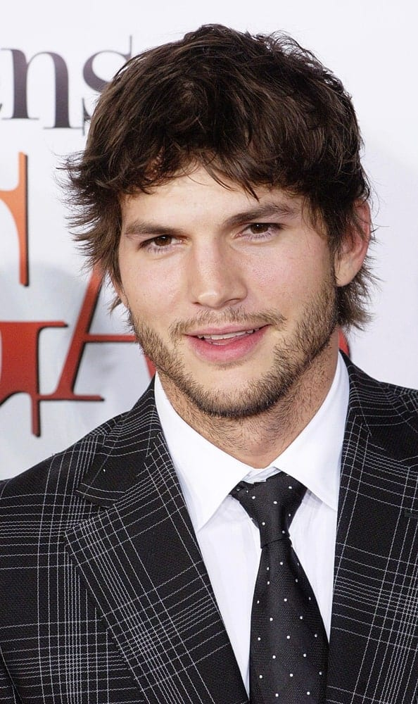 Ashton Kutcher's finely trimmed beard went quite well with his short, tousled and spiky fringe at WHAT HAPPENS IN VEGAS Premiere at the Mann's Village Theatre in Westwood, Los Angeles on May 01, 2008.