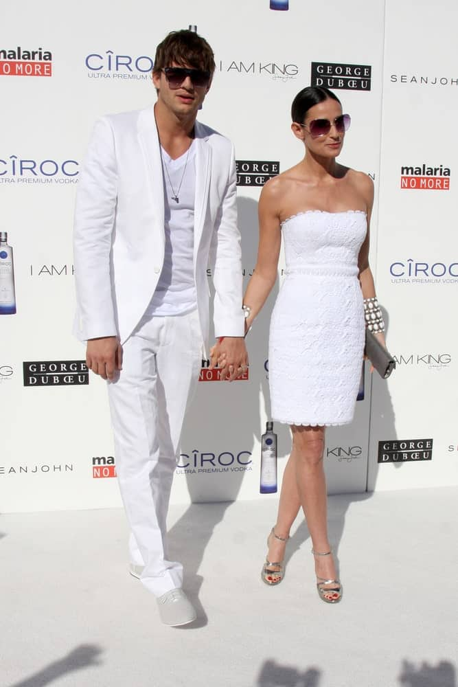 Ashton Kutcher & Demi Moore attended the White Party hosted by Sean
