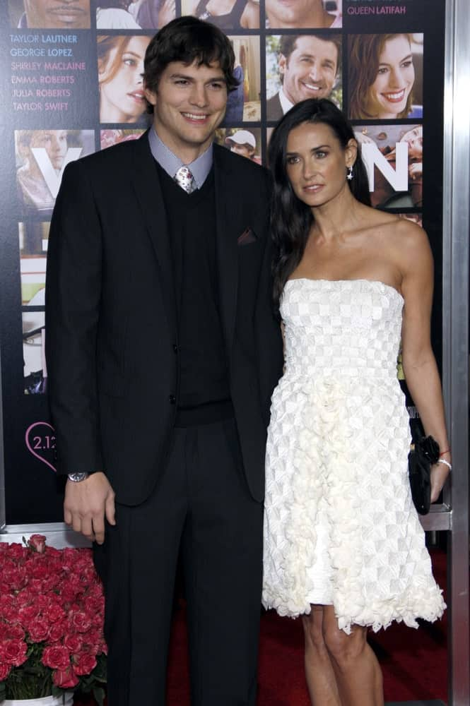 Ashton Kutcher and Demi Moore were at the Los Angeles premiere of 'Valentine's Day' held at the Grauman's Chinese Theater in Hollywood on February 8, 2010. Ashton Kutcher had a tousled wavy fringe hairstyle and bright smile.