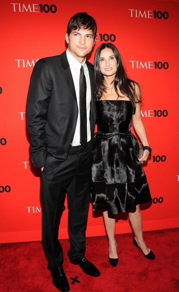 Ashton Kutcher, Demi Moore at TIME 100 Most Influential People in the World Annual Gala, Time Warner Center  in New York on May 4, 2010. Kutcher's messy fringe hairstyle had a bit of slick finish that went well with his suit.