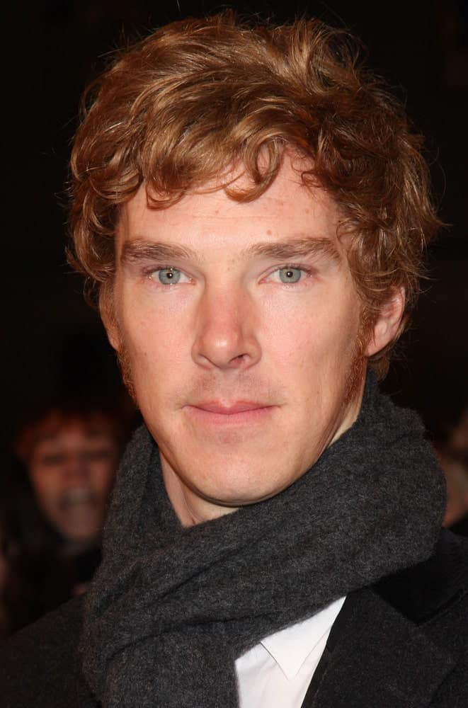 Benedict Cumberbatch styled his natural auburn hair in tousled waves at the National Television Awards held at the O2 Arena on January 26, 2011.