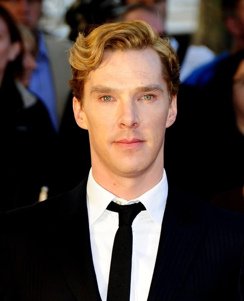 Benedict Cumberbatch opted for a wavy side-swept hairstyle at the premiere of the film Tinker, Tailor, Soldier, Spy held at the BFI South Bank theatre on September 13, 2011.