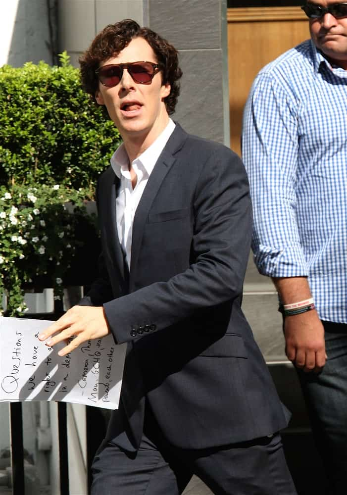Benedict Cumberbatch was seen filming scenes for Sherlock in London on August 21, 2013 with his iconic dark tousled waves.