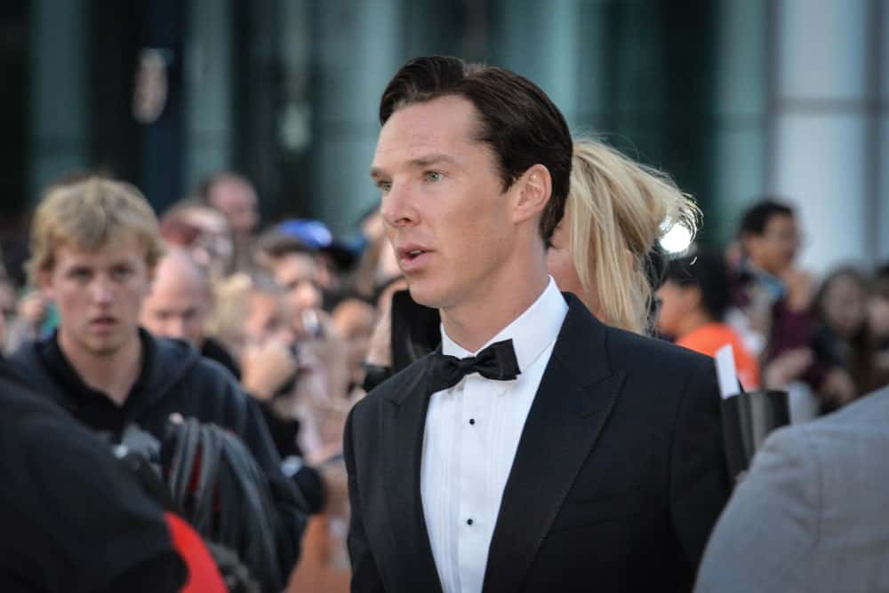 The English actor appeared at the premiere of The Fifth Estate at the 38th Toronto International Film Festival on September 5, 2013 sporting his black side-parted hair.