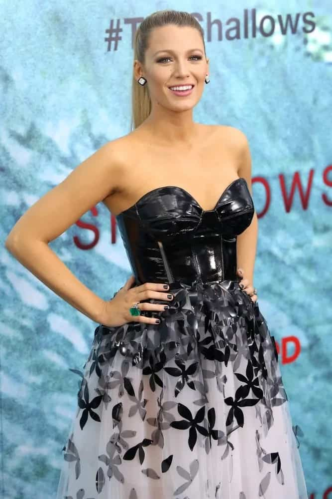 "Blake Lively was a picture of beauty and grace in her sexy fashion forward dress that went quite well with her slick high straight ponytail for the premiere of ""The Shallows"" back in 2016."