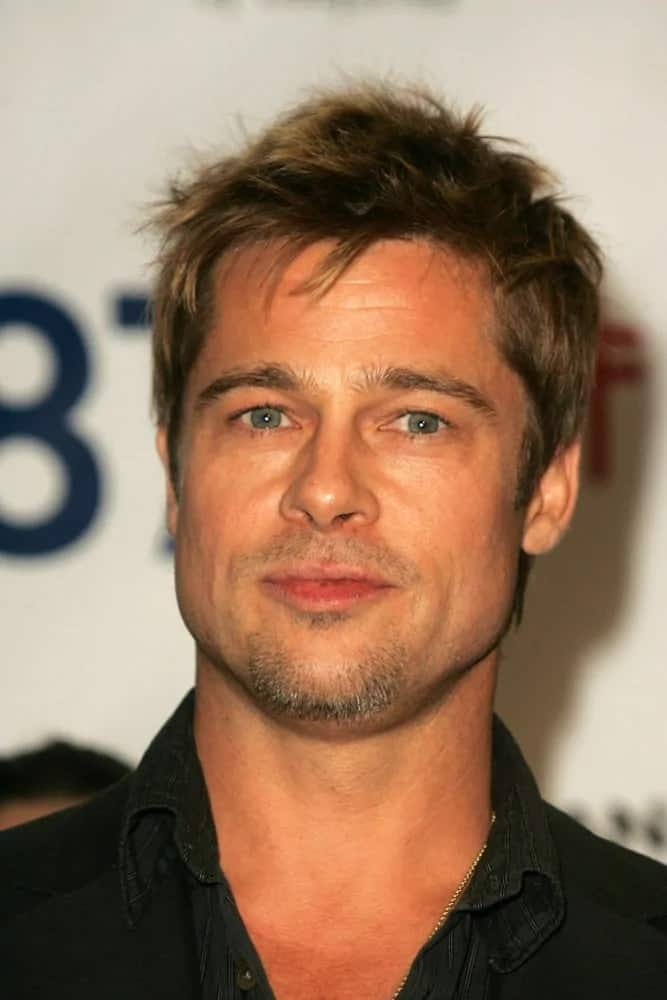 Brad Pitt had a spiky highlighted hairstyle during the Proposition 87 Press Conference in a Private Location back in November 11, 2006, in Los Angeles, CA.