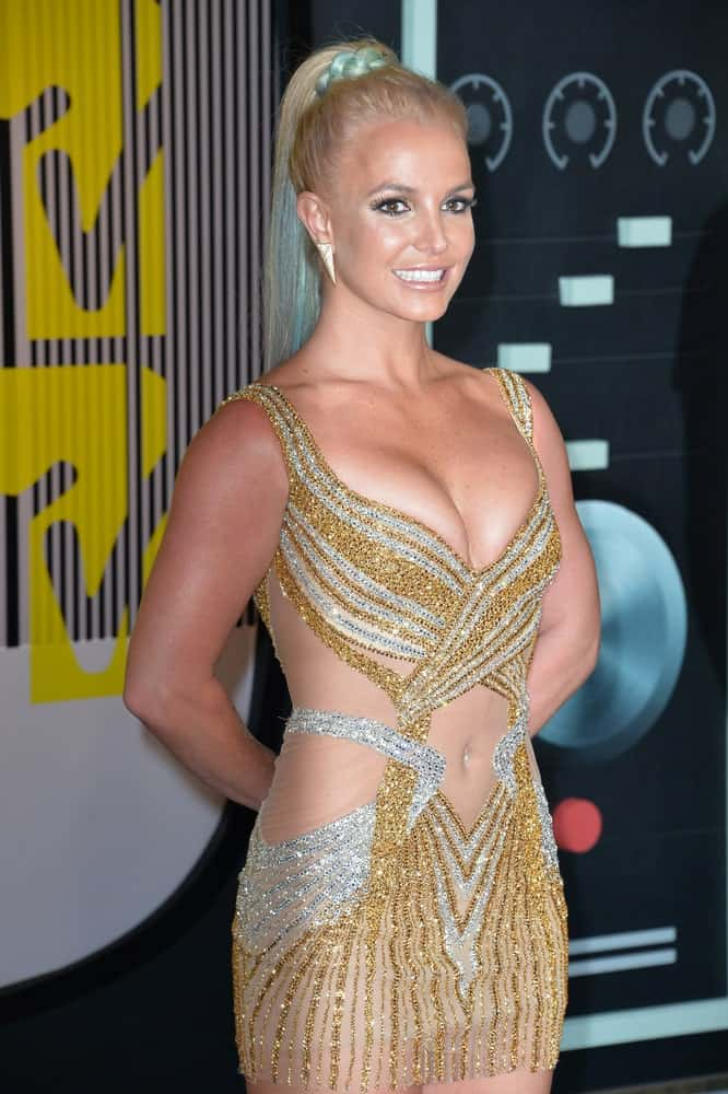 Britney Spears paired her sparkly looks with a high braided ponytail at the 2015 MTV Video Music Awards held on August 30, 2015.
