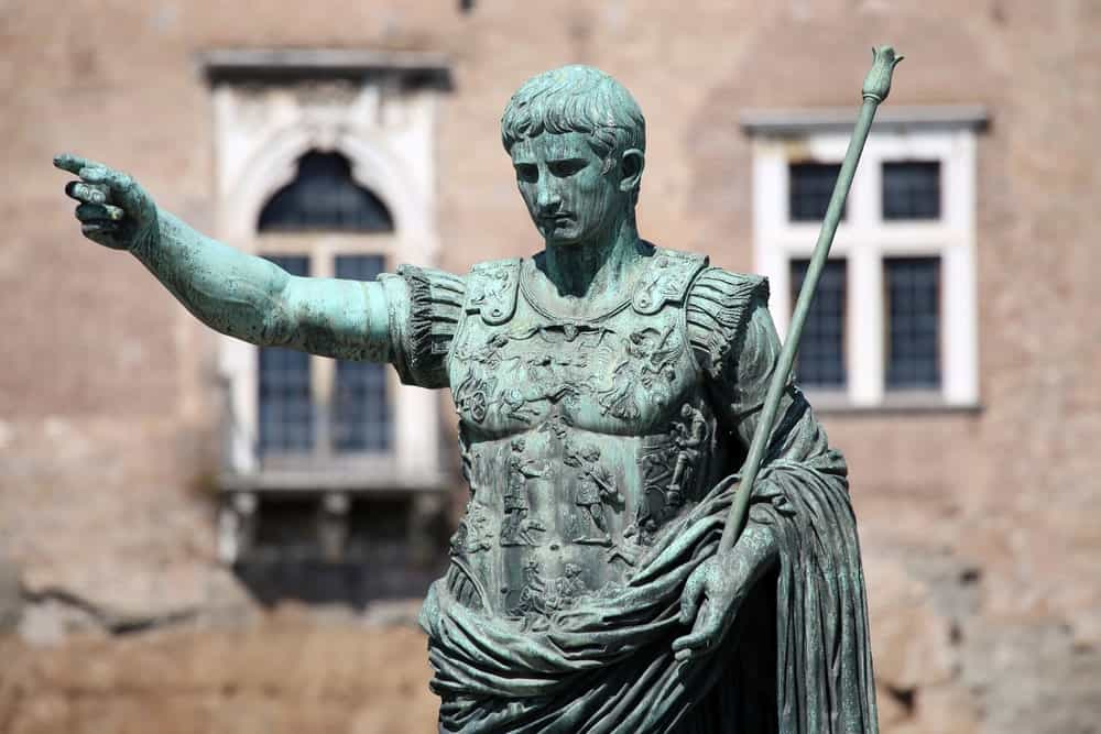 Julius Caesar's statue in Rome. His hairstyle is now a popular choice for men.