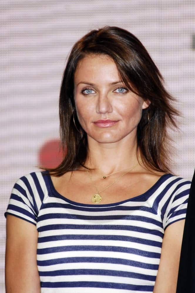 Cameron Diaz wore a casual striped shirt with her straight dyed raven locks with subtle highlights and side-swept bangs at the press conference for Save Our Selves, Campaign for a Climate Crisis Launch in the California Science Center last February 15, 2007.