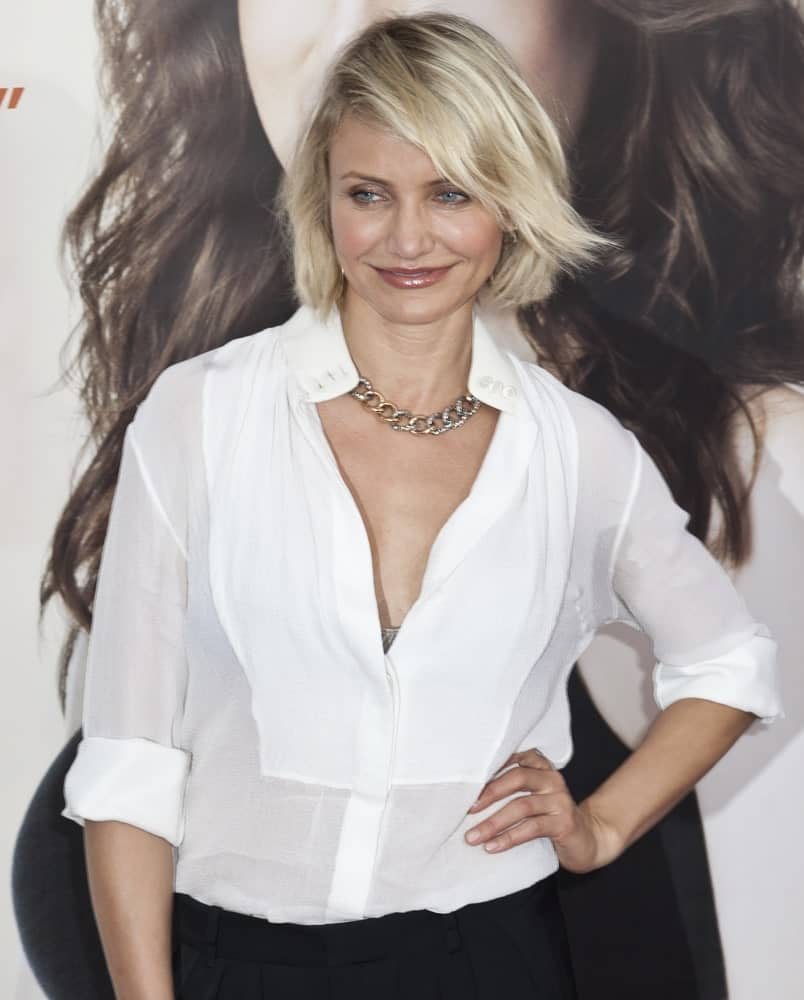 Cameron Diaz attended the 'What To Expect When You're Expecting' premiere at AMC Loews Lincoln Square on May 8, 2012, in New York City. She wore a comfortable white button-down shirt to pair with her tousled bob and side-swept bangs.