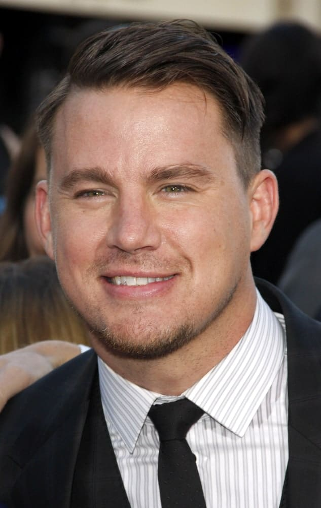 Actor Channing Tatum rocked a short side-swept undercut incorporated with a comb over hairstyle. This was taken at the Los Angeles premiere of