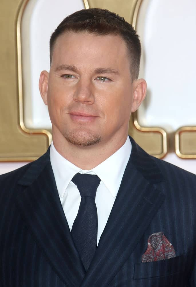 The actor pulled off a short crew cut with spikes in front during the Kingsman: The Golden Circle World Premiere at Odeon Leicester Square on September 18, 2017.