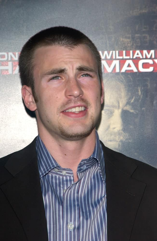 On September 9, 2004, Actor Chris Evans wore a smart casual outfit to pair with his goatee and buzz cut hairstyle at the Los Angeles premiere of his new movie