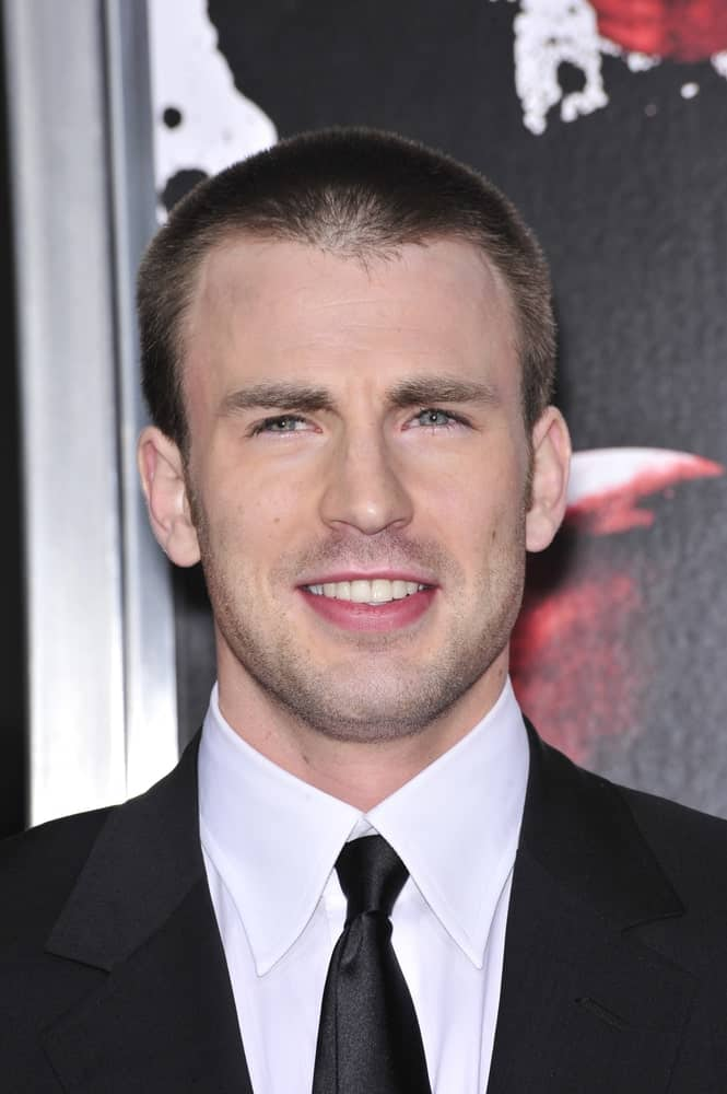Chris Evans had a carefree short crew cut hairstyle to go with his dapper black suit at the Los Angeles premiere of his new movie