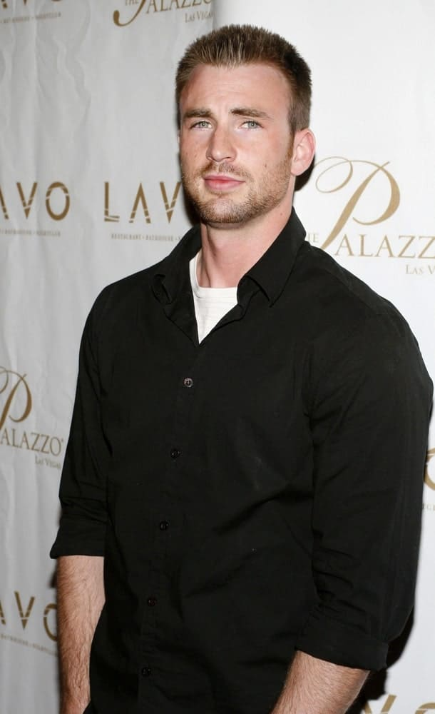 Chris Evans sported a military look with his spiked short crew cut hairstyle and black button-down shirt at LAVO Restaurant and Nightclub Grand Opening in Las Vegas on September 13, 2008.