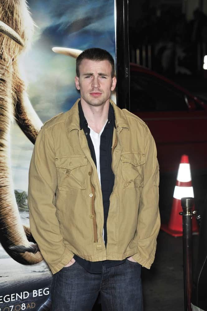 Chris Evans' casual jacket and jeans were a perfect pairing for his crew cut hairstyle at the premiere of