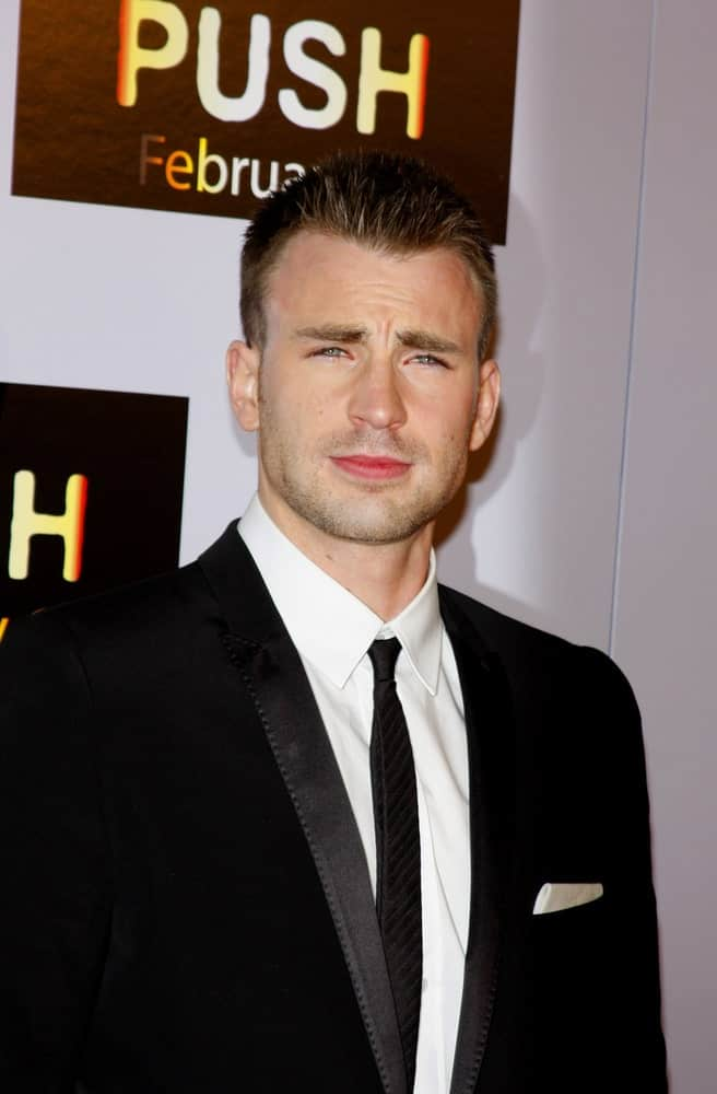Chris Evans wowed everyone with his short and spiky crew cut hairstyle at the Los Angeles Premiere of 'Push' held at the Mann Village Theater in Westwood on January 29, 2009.