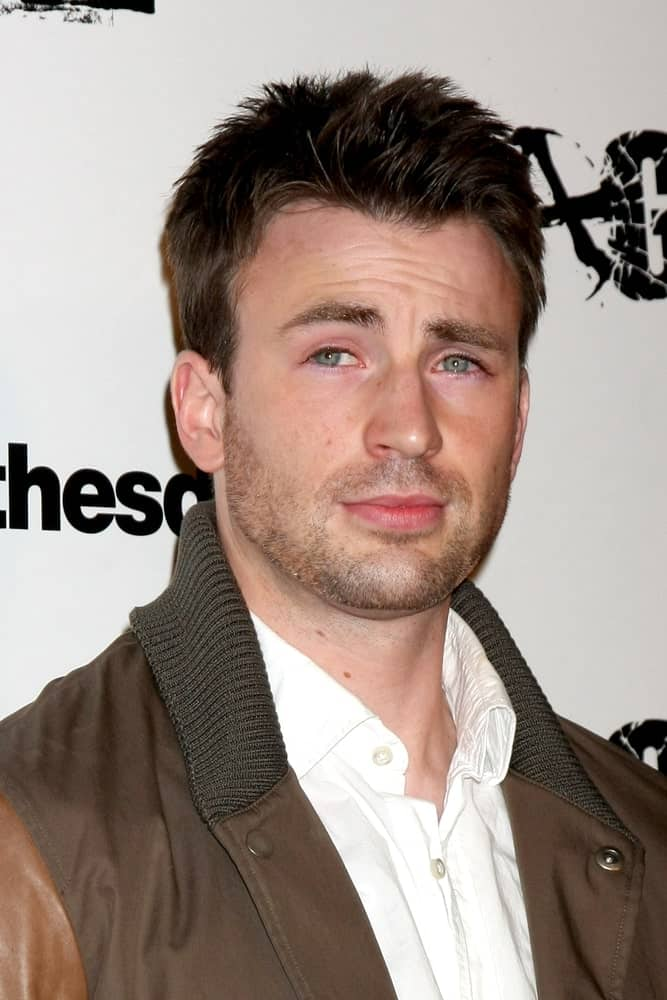 Chris Evans looked quite a dashing specimen with his spiked crew cut hairstyle and casual brown aviator jacket at the RAGE Game Launch at the Chinatown's Historical Central Plaza on September 30, 2011 in Los Angeles, CA.