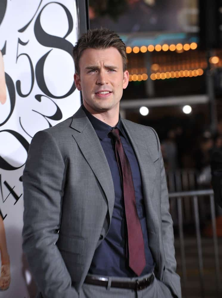 Chris Evans' gray suit was a perfect fit for his neat and handsome short spiked hairstyle at the Los Angeles premiere of