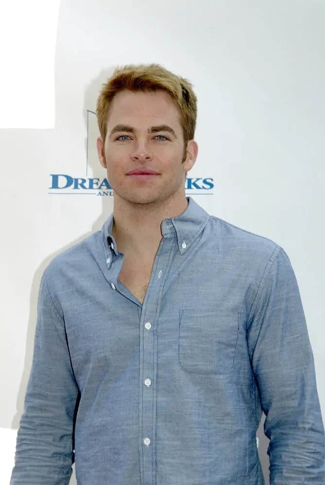 Chris Pine's brilliant blue eyes goes quite well with his sandy blond highlights swept to the side when he attended the 3rd Annual Milk and Bookies Story Time 2012 Celebration in Los Angeles, CA.