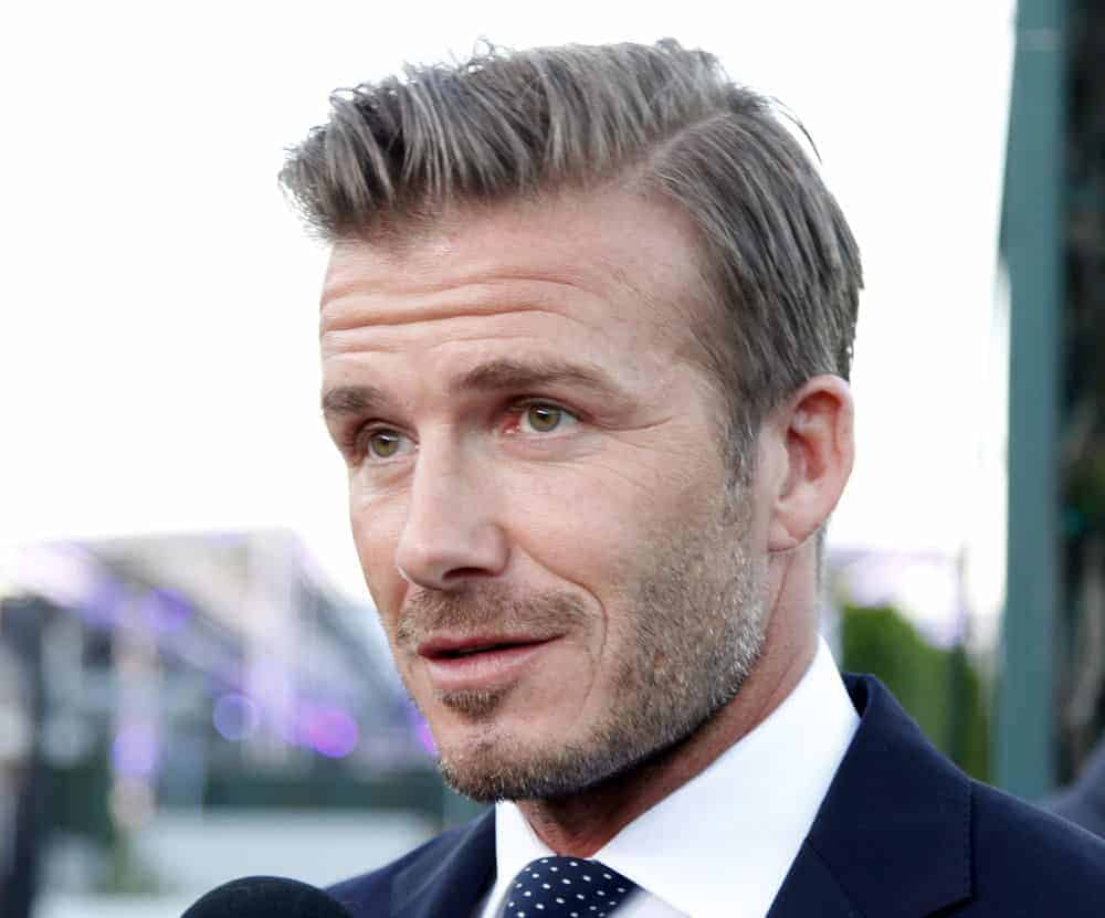 David Beckham went for the side-swept hairstyle at the Time Warner Sports Launch of TWC Sportsnet and TWC Deportes Networks at TWC Sports Studios on October 1, 2012 in El Segundo, California.