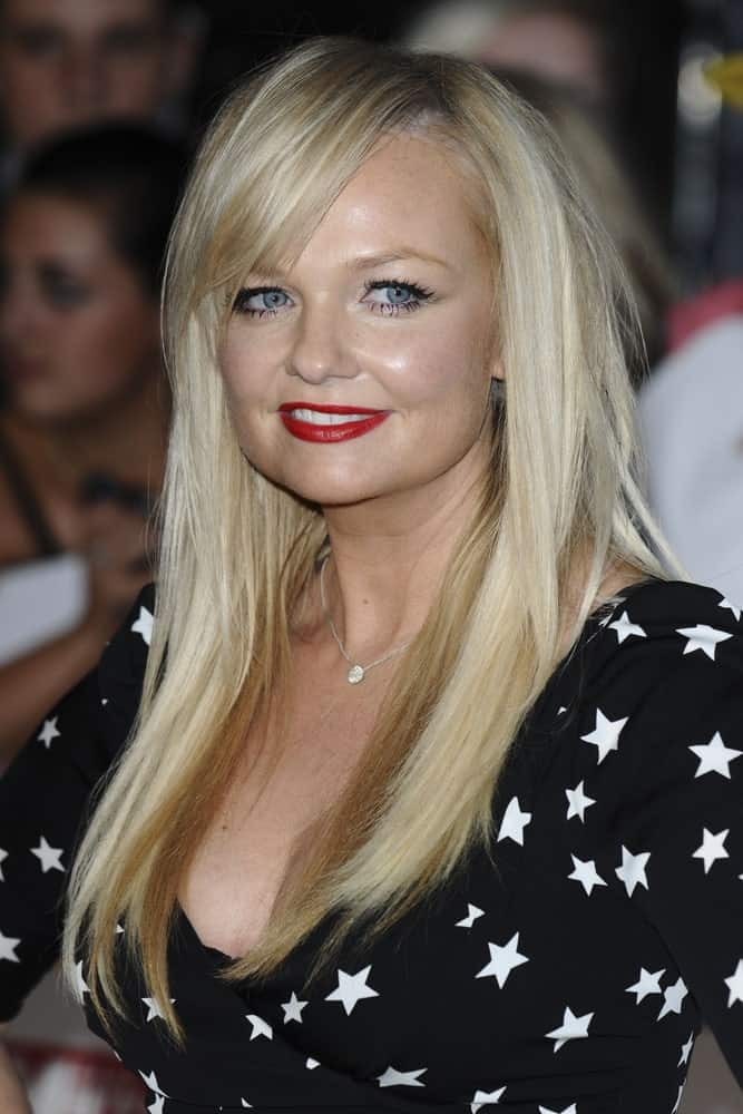 During the 2011 Pride Of Britain Awards, at the Grosvenor House Hotel, London on October 4th, Emma Bunton had loose side-parted hair paired with a star-patterned dress.