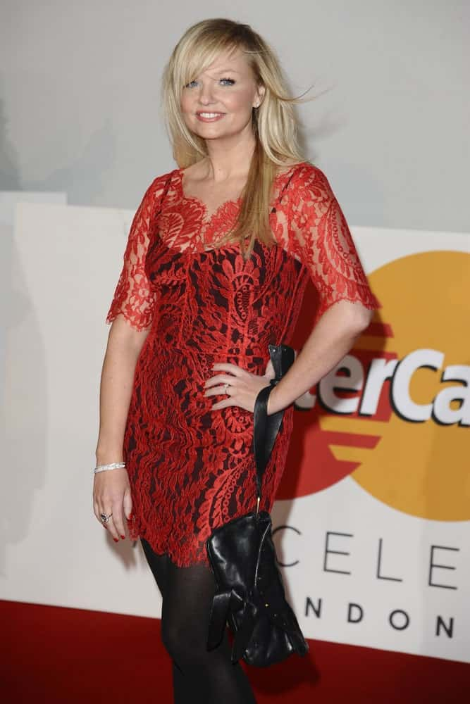 The singer-songwriter opted for a trendy look featuring a red lace dress and her side-parted blonde hair accentuated with dark highlights. This was taken at the Brit Awards 2012 in the O2 arena on Feb 21st.