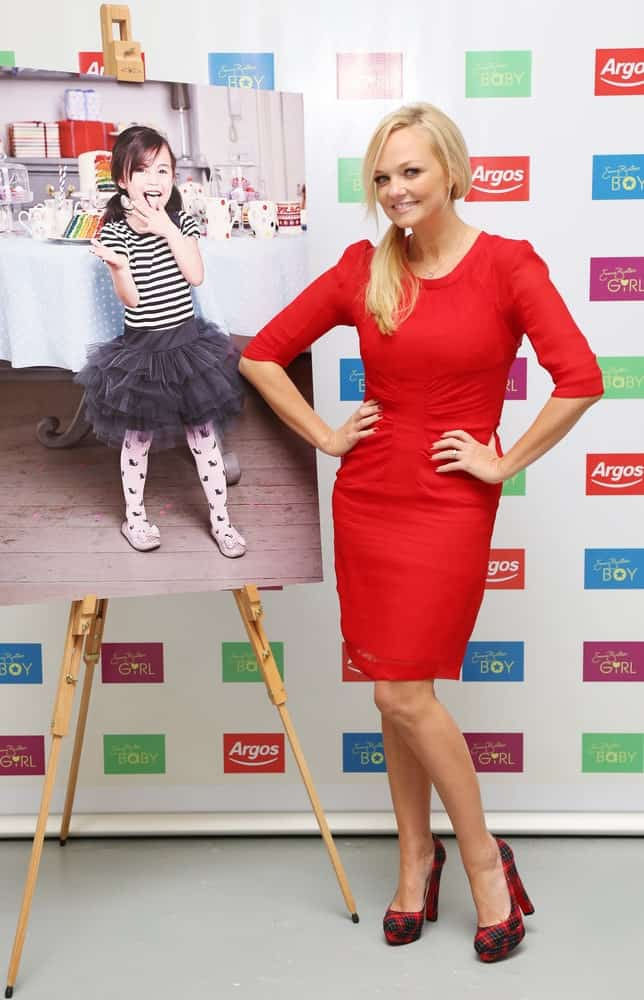 The singer-songwriter arrived for the Launch of Emma Bunton's Autumn/Winter childrenswear range for Argos on July 19, 2012. She styled her blonde hair in a side ponytail with loose tendrils.