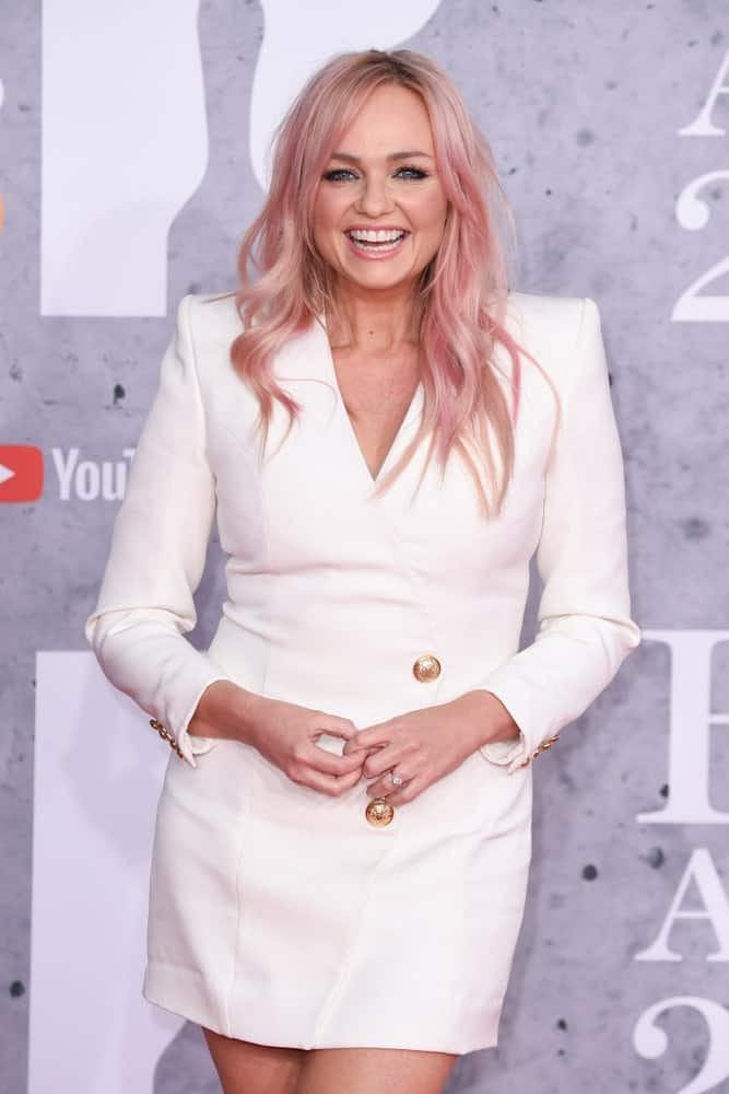 Emma Bunton exhibited her gorgeous pink hair defined with big spiral waves. This look was worn during the BRIT Awards 2019 at the O2 Arena, London held on February 20th.