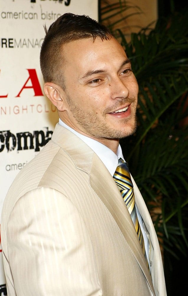 Kevin Federline at Lax Night Club, sporting a fauxhawk men hairstyle.