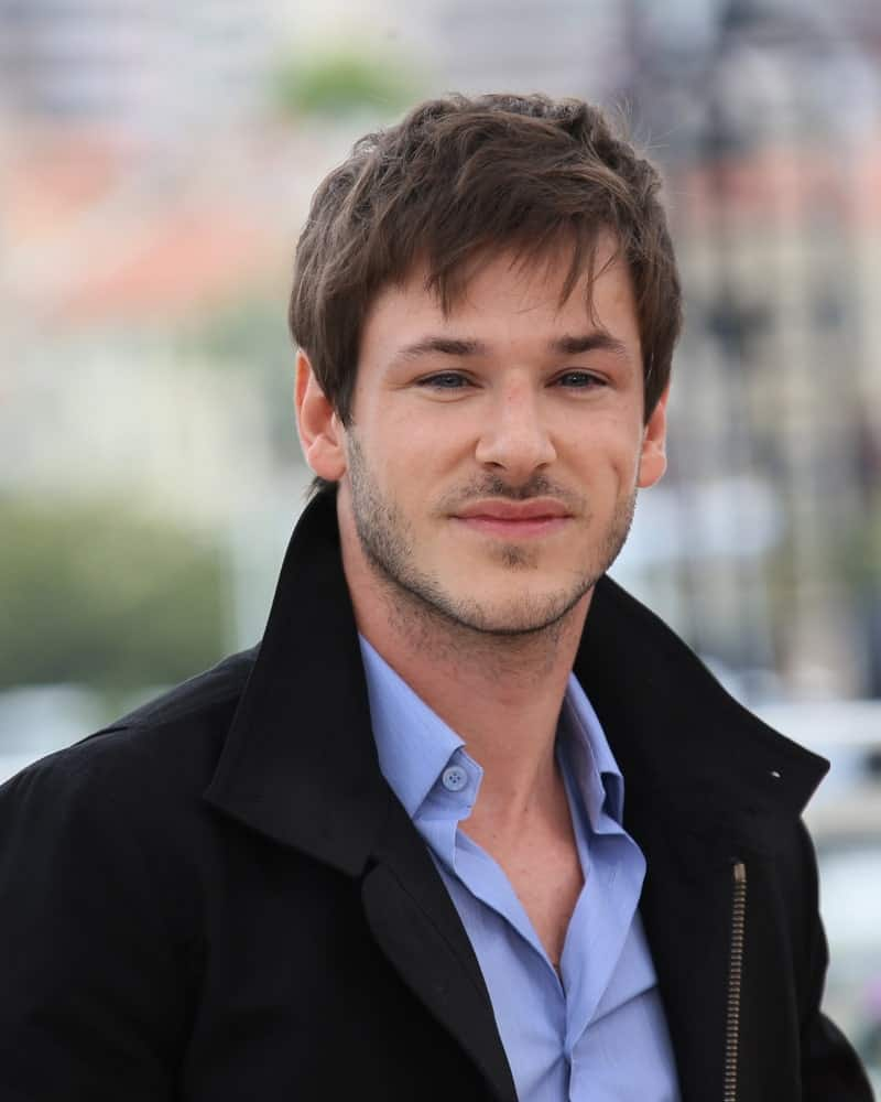 Gaspard Ulliel with a stylish fringe hairstyle in Cannes, France during 69th annual Cannes Film Festival.