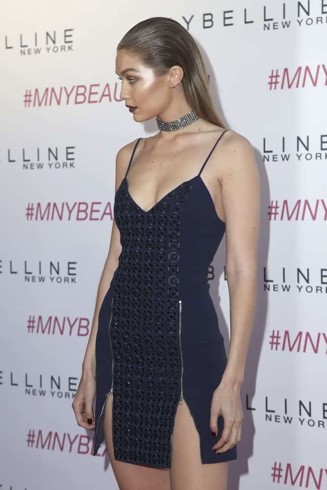 Gigi Hadid was at the Maybelline New York Beauty Bash at the The Line Hotel on June 3, 2016 in Los Angeles, CA. She looked stunning in her short dress and slicked back long hair straight hair.