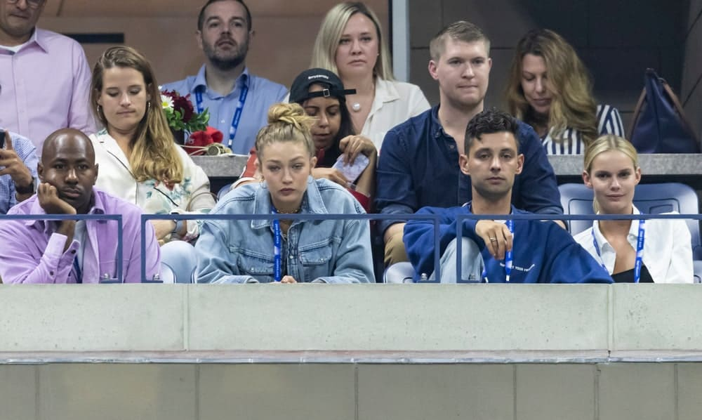 Gigi Hadid attended the US Open Tennis Championship round 2 at Billie Jean King National Tennis Center in New York on August 28, 2019. She came in a casual denim jacket and top-knot bun hairstyle.