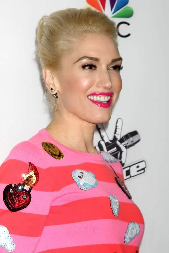 "Gwen Stefani wore a quirky and colorful striped sweater with her sleek and polished upstyle during NBC's ""The Voice"" Season 7 Red Carpet Event last December 8, 2014, in West Hollywood, CA."