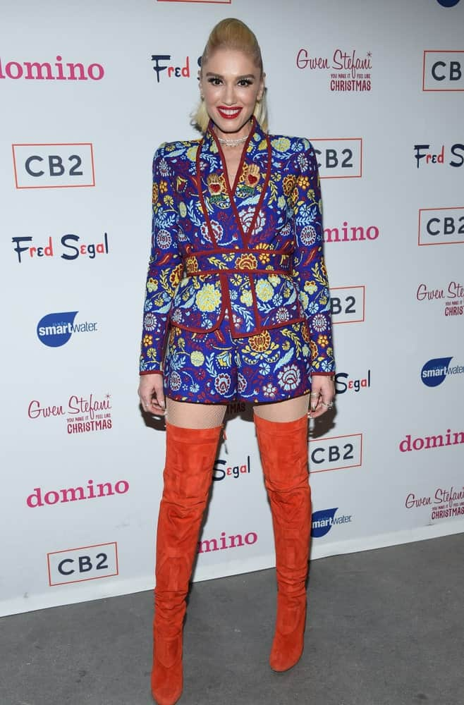 Gwen Stefani attended the Domino x Fred Segal And CB2 Pop Up last December 7, 2017, in Los Angeles. She wore a pair of thigh boots with her colorful outfit and sandy blond ponytail with a slight pompadour look.